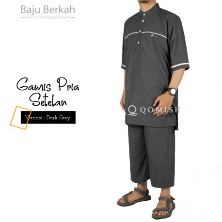 Gamis Pria Setelan Qomishu QMGA - Dark Grey