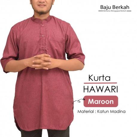 Koko Pakistan Kurta HAWARI Pria Muslim - Maroon