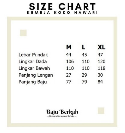 Size Chart Kemeja Koko Hawari